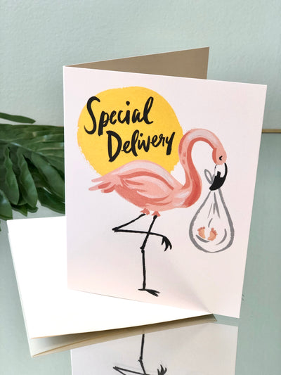 Flamingo Stork Card - New Baby