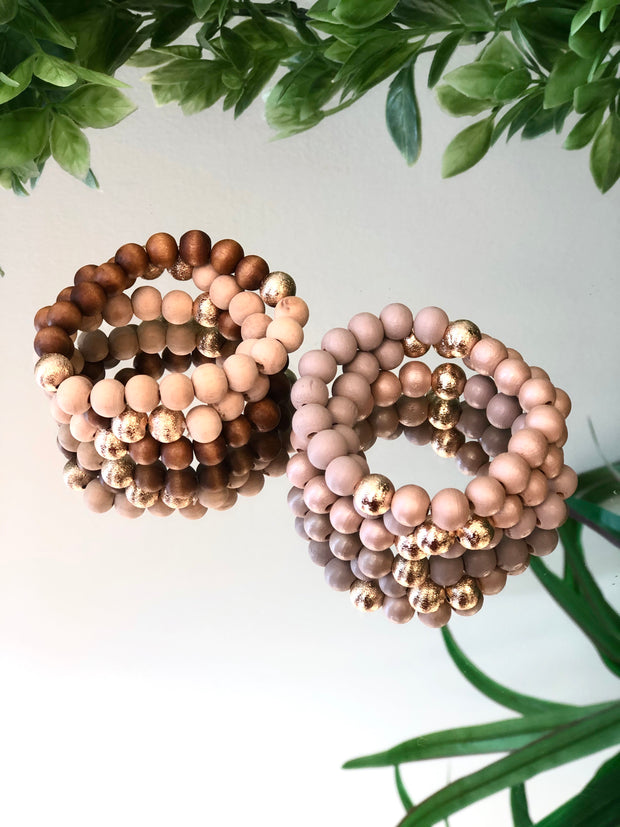 Touch of Gold Wooden Trio Bracelet Stack