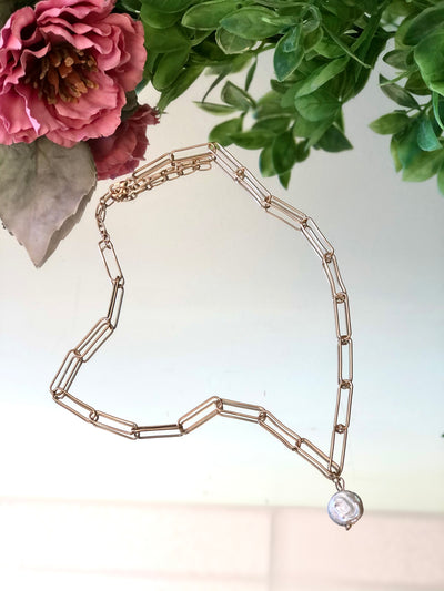 Pearl Paperclip Link Necklace