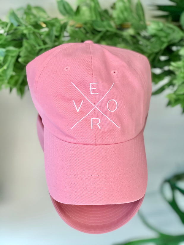 Vero Hat - Warm Pink and White