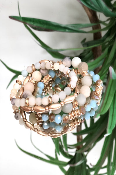 Bougie Bracelet Stack - Teal/Gold