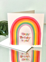 Rainbow Letters Card - Birthday Card