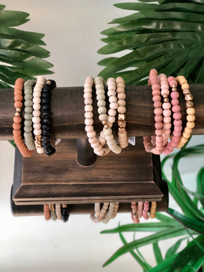 Square Up Round Beaded Bracelet Stack