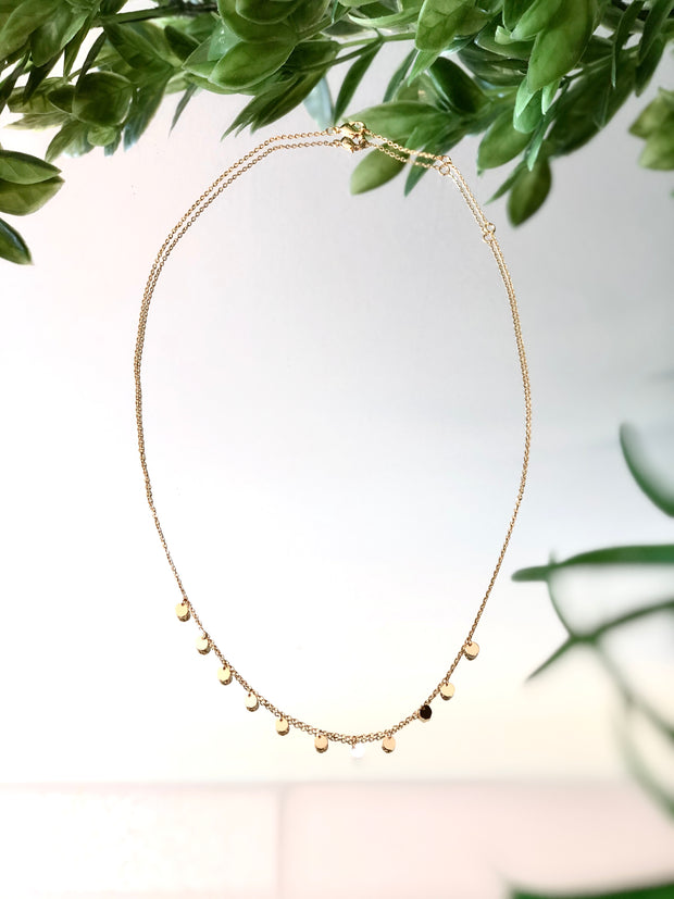 Dainty Disc Gold Dipped Necklace