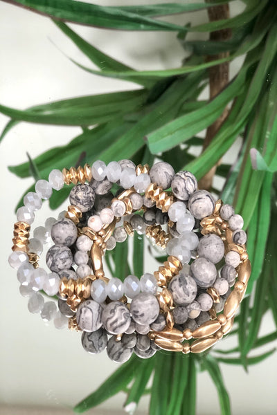 Bougie Bracelet Stack - Grey/Gold