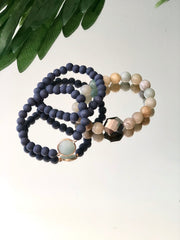 Jeweled Wooden Trio Stack Bracelet
