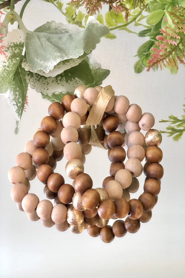 Gold & Wood Bead Stack - Natural