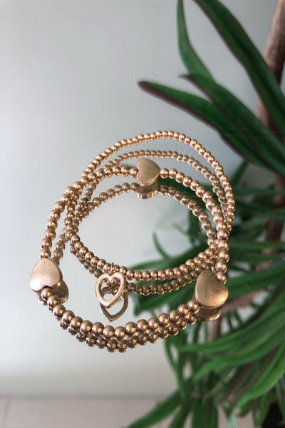 Mini Bead Gold Heart Bracelet Stack