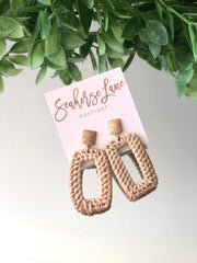 Rattan Rectangle Earrings