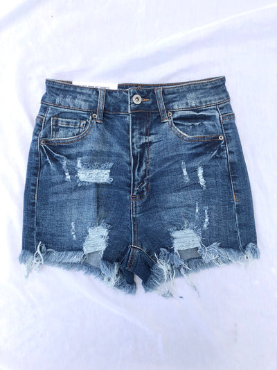Distressed Denim High Waisted Mom Shorts