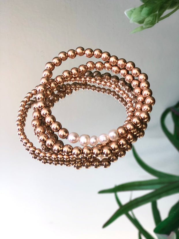 Gold and Pearl Trio Stack Bracelet