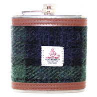 6oz HARRIS TWEED HIP FLASK - BLACK WATCH - scotlandsgiftstore.co.uk