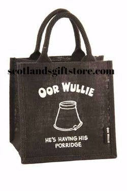 "OOR WULLIE ""PORRIDGE"" JUTE GIFT / LUNCH BAG - scotlandsgiftstore.co.uk"