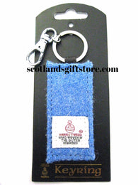 HARRIS TWEED FABRIC KEYRING - BLUE - scotlandsgiftstore.co.uk
