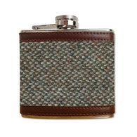 6oz HARRIS TWEED HIP FLASK - GREEN / BROWN - scotlandsgiftstore.co.uk