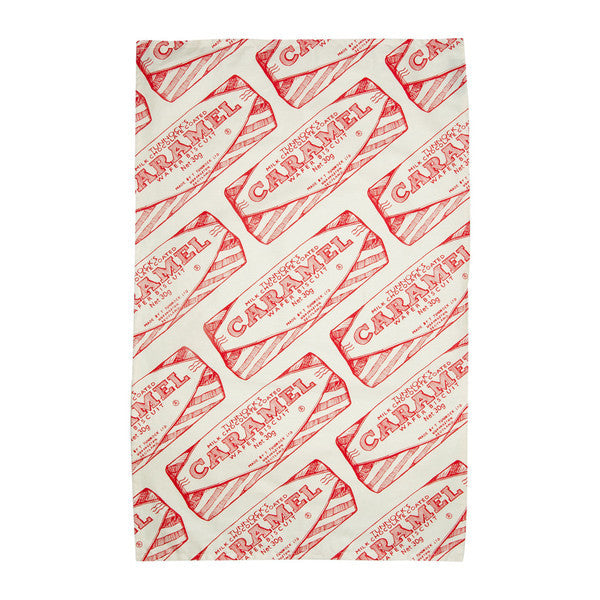 TUNNOCK'S CARAMEL WAFER REPEAT WRAPPER BISCUIT ORGANIC UNBLEACHED COTTON TEA TOWEL BY GILLIAN KYLE - scotlandsgiftstore.co.uk