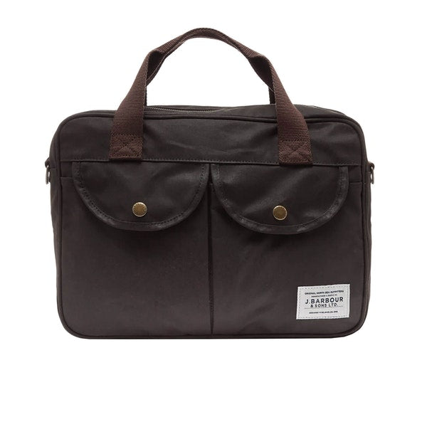 Barbour Longthorpe Wax Cotton Laptop Bag Olive