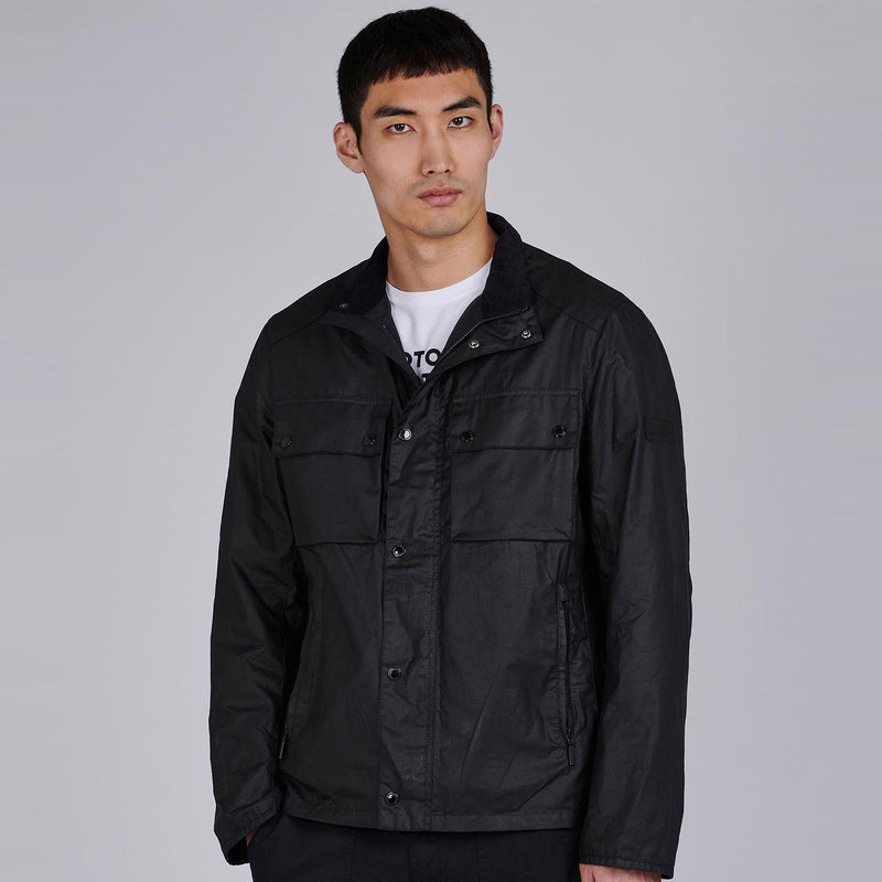 Barbour International Challenge Wax Cotton Jacket Black