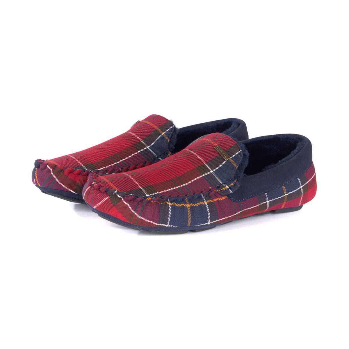 Barbour Monty Moccasin Slippers Merlot Tartan