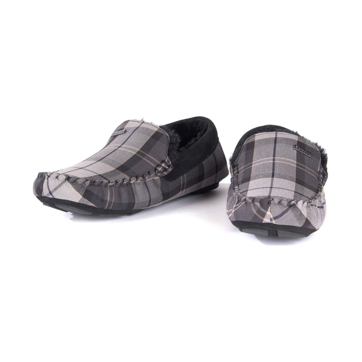 fd1921023145 Barbour Monty Moccasin Slippers Monochrome Tartan - Smart Ass Menswear