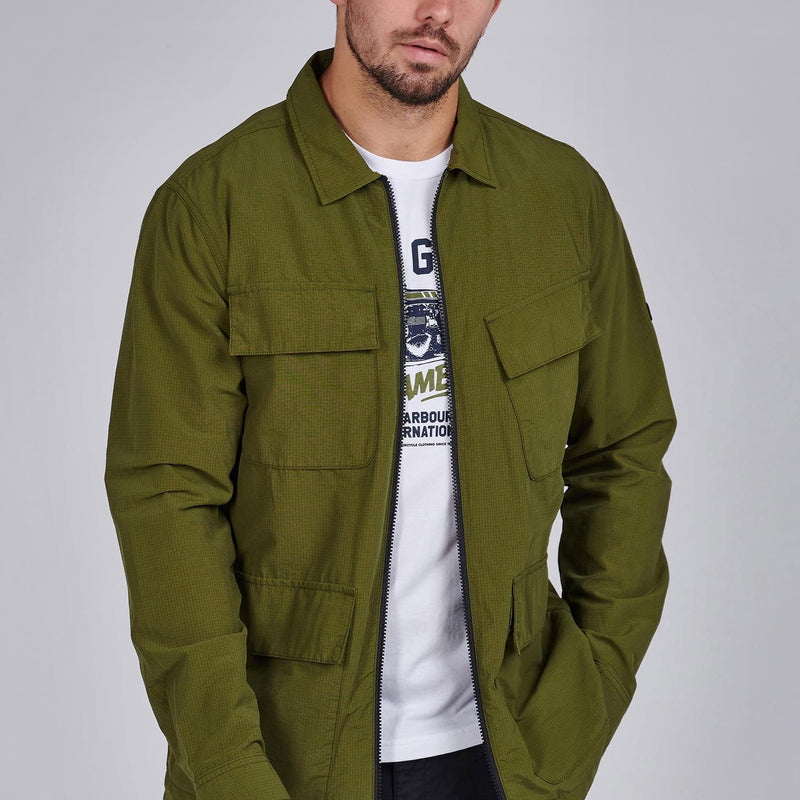 Barbour International Rally Ripstop Overshirt Vintage Green