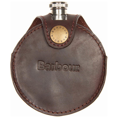 Barbour Round Hip Flask In Gift Box Brown