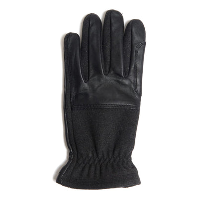 Barbour Rugged Melton Wool Leather Mix Gloves Charcoal Black