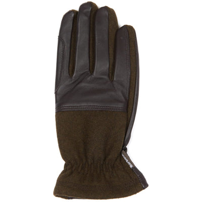 Barbour Rugged Melton Wool Leather Mix Gloves Olive Brown
