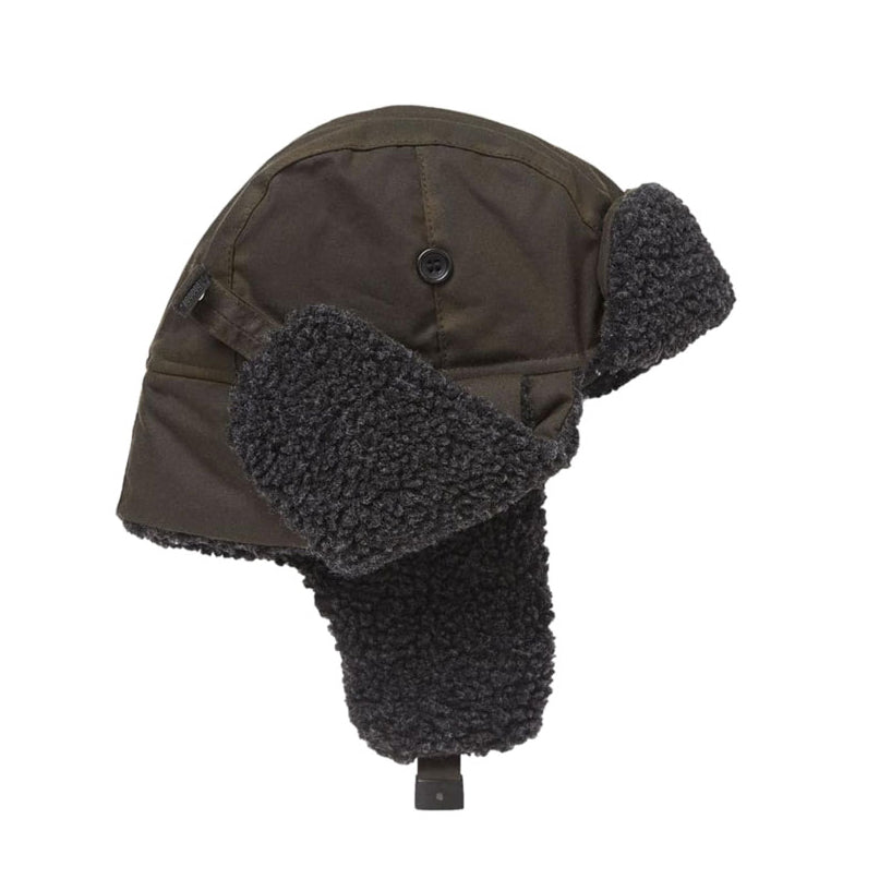Barbour Fleece Lined Wax Trapper Hat Olive
