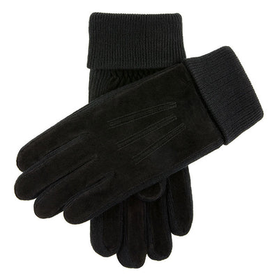 Dents Kendal Fleece Lined Suede Gloves Black Charcoal