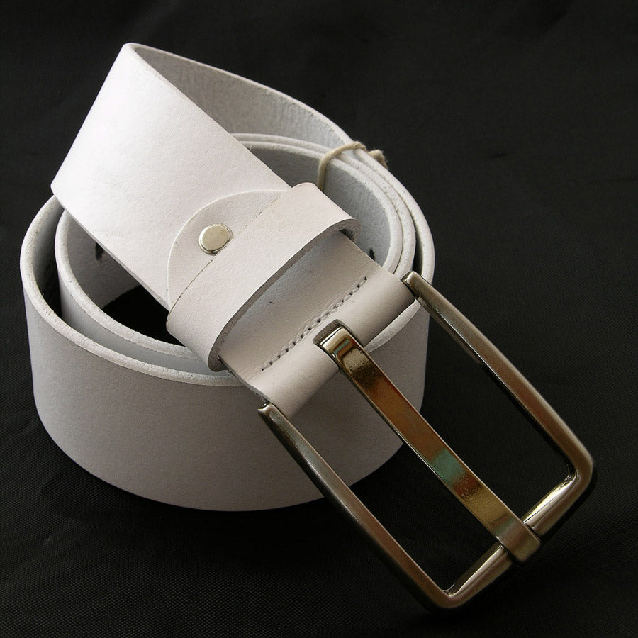 Face Belts Leather Single Pin Buckle White Wide Belt