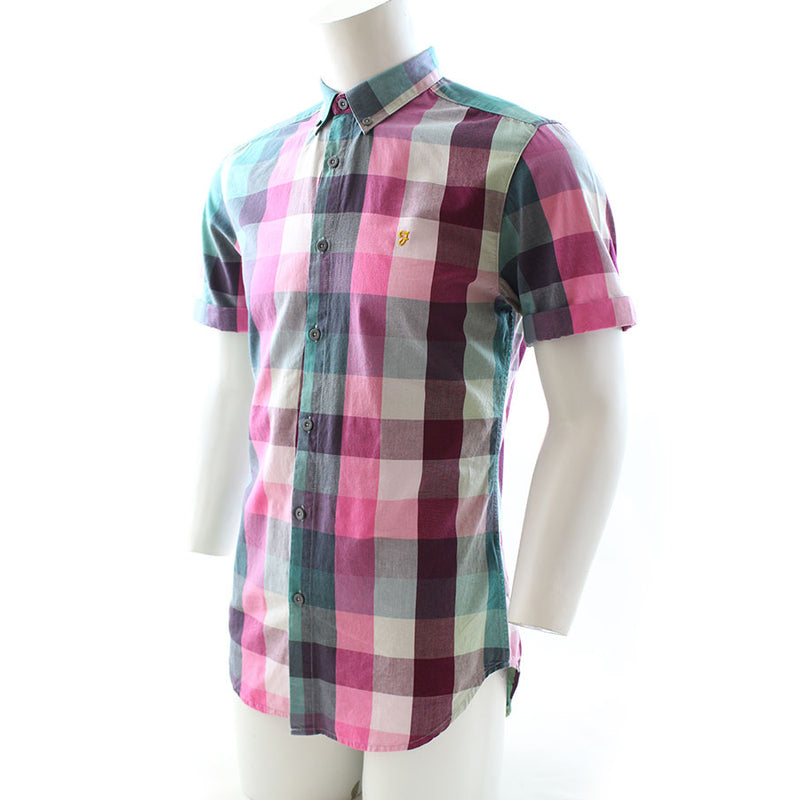 Farah Aragon Short Sleeve Slim Fit Check Shirt Azealia