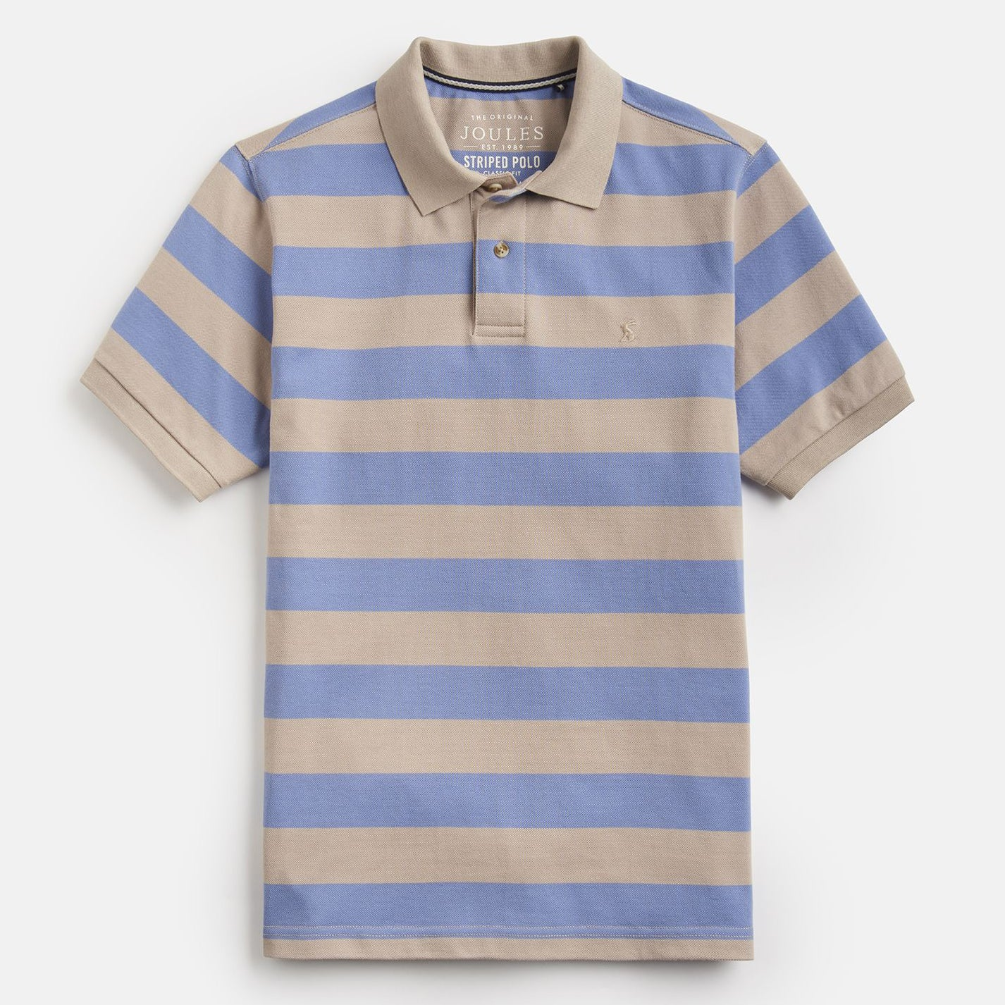 Joules Filbert Striped Classic Fit Polo Blue Taupe Stripe