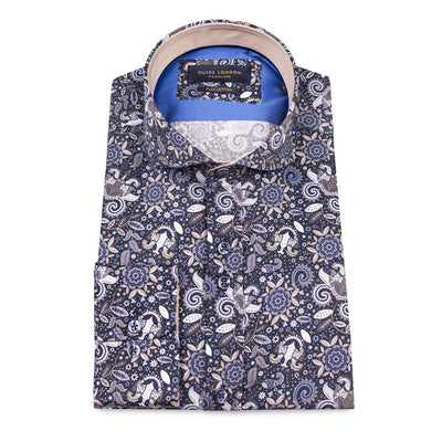 Guide London Mixed Print Shirt Navy LS74365