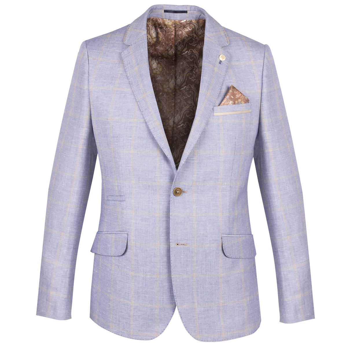 Guide London Blue Linen Blend Check Blazer Jacket JK3250