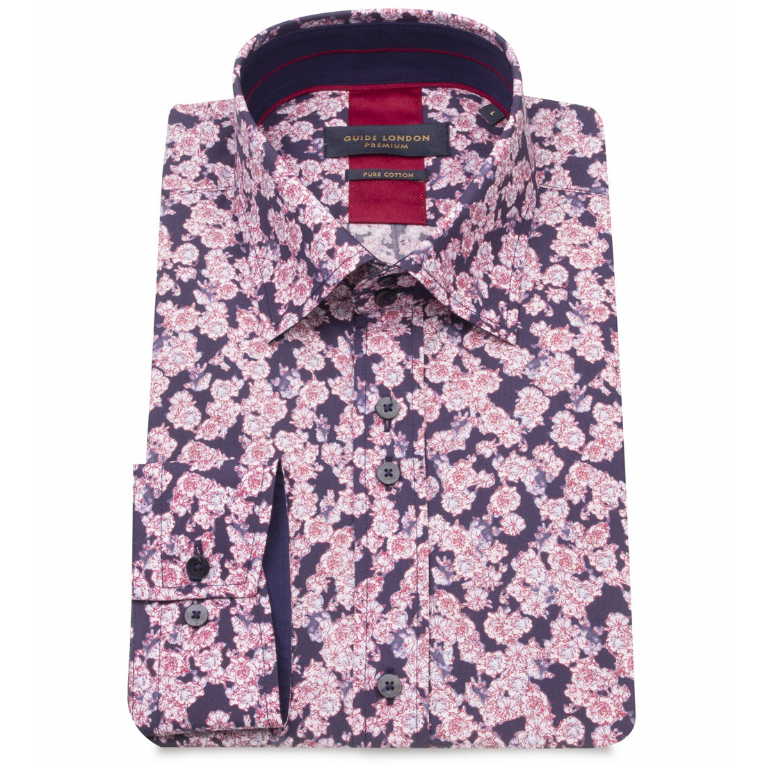 Guide London Premium Navy Floral Shirt LS75229