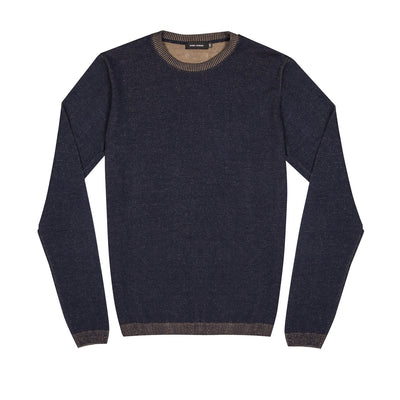 Guide London Two Tone Knitted Jumper Navy and Taupe
