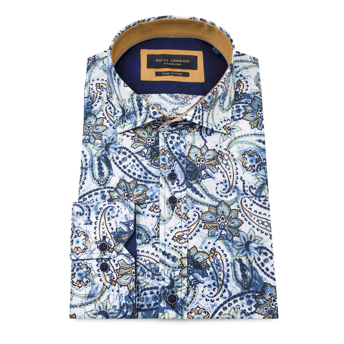 Guide London Multi Sateen Paisley Design Shirt LS74334