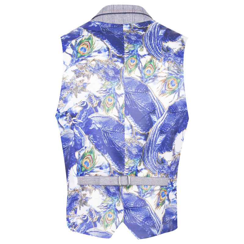 Guide London Navy Waistcoat Blue Peacock Lining WC3304