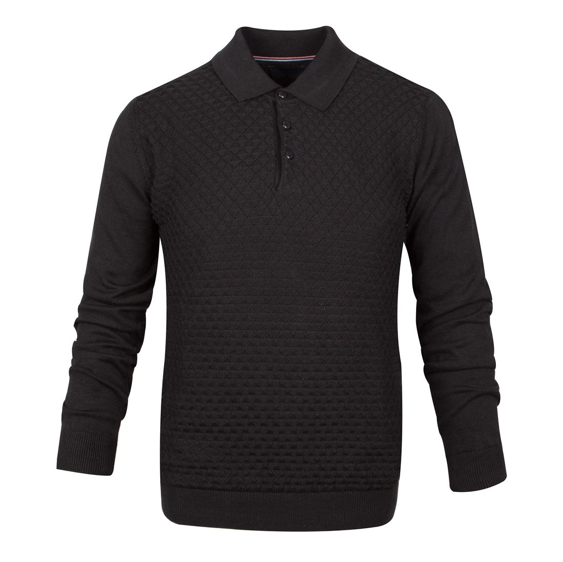 Guide London Premium Triangle Knit Stitch Polo Collar Jumper Black KW2698
