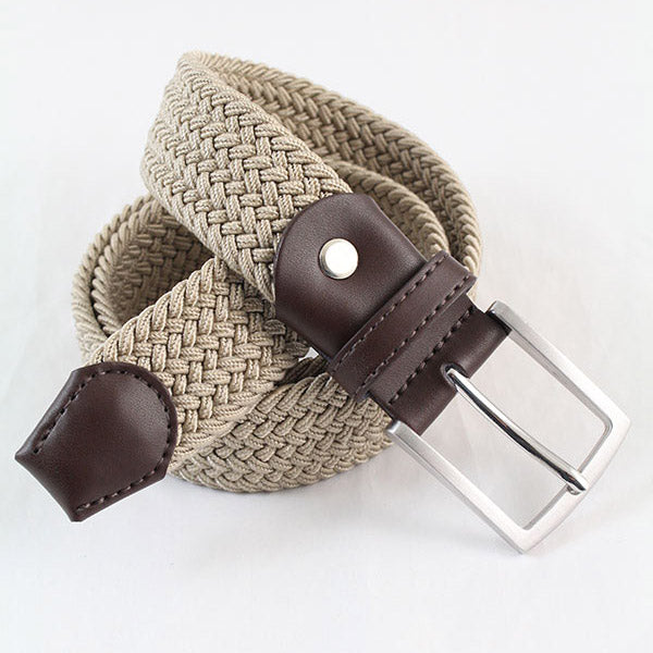 IBEX Of England Elastic Woven Leather Belt Beige 35mm