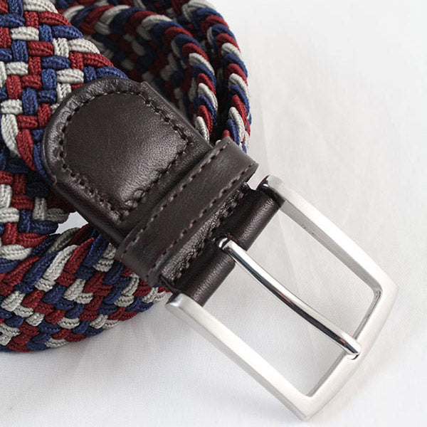 IBEX Of England Elastic Woven Leather Belt Navy Burgendy Beige