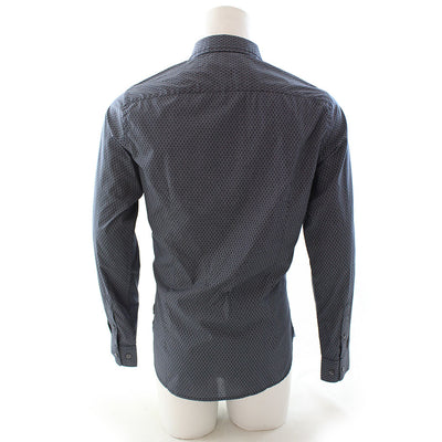 French Connection Micro Bubble Contrast Shirt Marine Blue