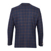 Guide London Italian Wool Overcheck Blazer Jacket Navy with Tan JK3294