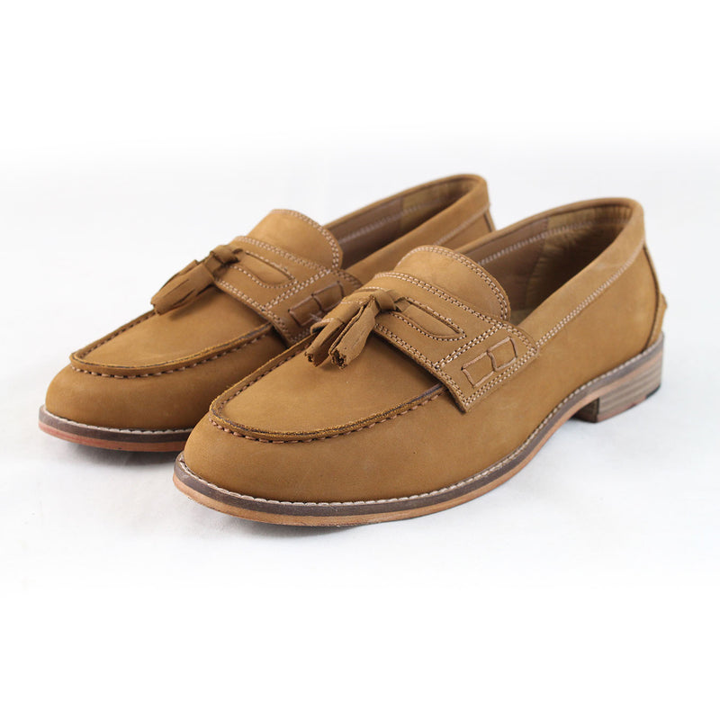 Justin Reece Morris Tassel Loafers Shoes Camel