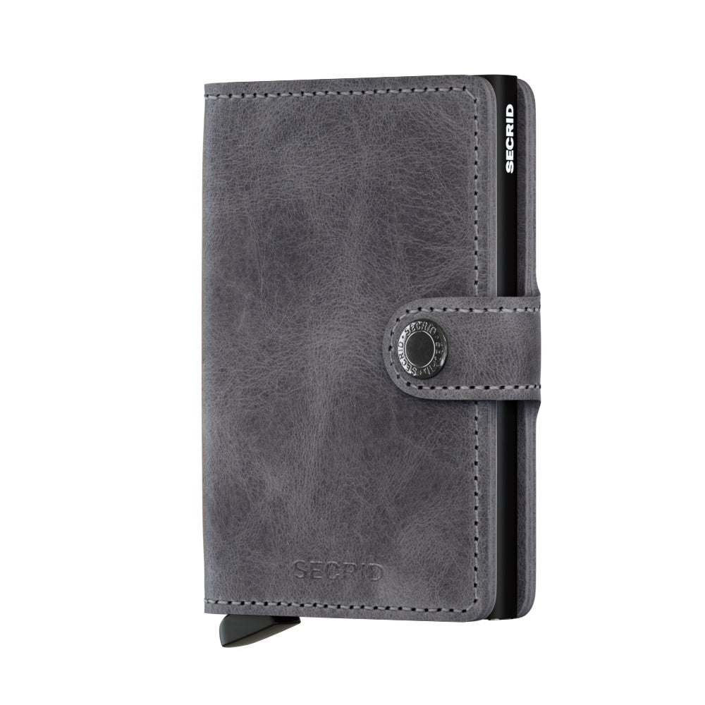 Secrid Miniwallet Vintage Grey Black Leather Wallet
