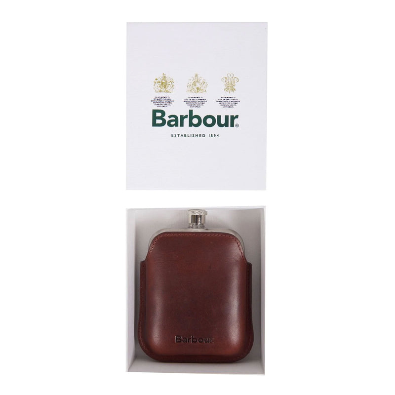 Barbour Waxed Leather Hip flask Gift Box Dark Brown