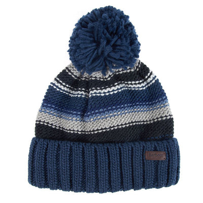 Barbour Harrow Stripe Pom Pom Beanie Grey and Blue