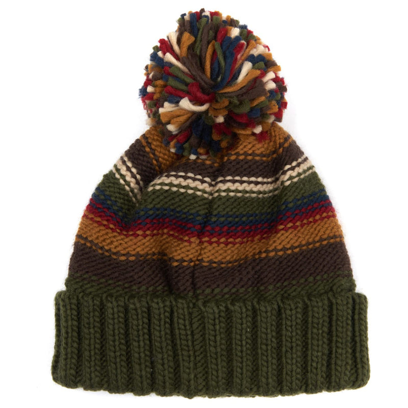 Barbour Harrow Stripe Pom Pom Beanie Olive