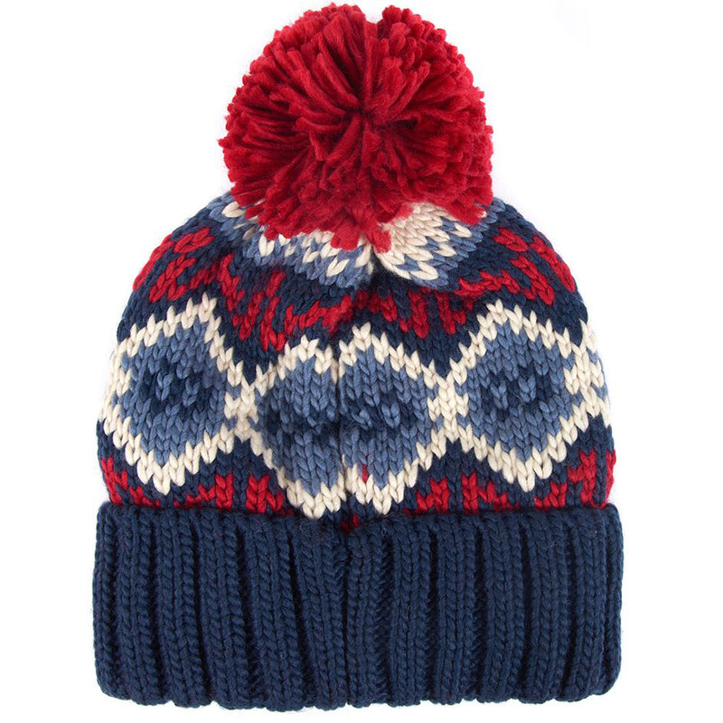 Barbour Malton Pom Pom Beanie Navy and Red